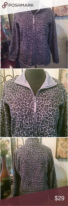 """🐾Plush Leopard Print Zip Jacket🐾 Such a pretty cozy & comfy soft leopard print zip up jacket to keep you very warm. A great layering piece. Gray & black, side pockets, stand up or fold back collar. Never worn but stored & in excellent condition. Fabric is a poly velour/fleece with stretchy seam binding at sleeve edges & sweep. Cut generously. Measurements: Bust=43-44"""", Shoulder width Seam to Seam=17"""", Length from shoulder=27"""". Size Lg. NWOT. Style & Co/Macy's Jackets & Coats"""