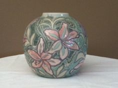 Small Round Pastel Colored Vase by iLikeEclectic on Etsy