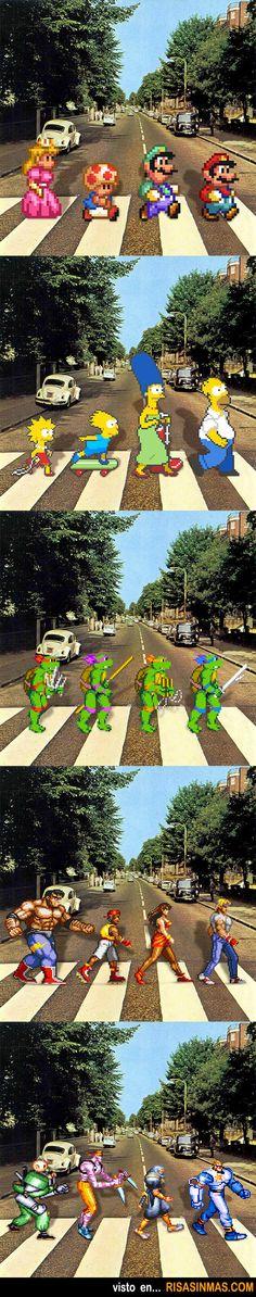 Homenaje a los Beatles al cruzar Abbey Road, con personajes de algunos de los videojuegos más famosos.