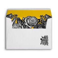 Black and White Roses Goldenrod Wedding Envelope Wedding Invitation Envelopes, Unique Wedding Invitations, Invites, Electric Blue Weddings, Black And White Roses, Luxe Wedding, Custom Printed Envelopes, Wedding Designs, Wedding Ideas