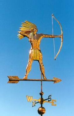 Brave (Indian) with Arrow Weather vane by West Coast Weather Vanes.