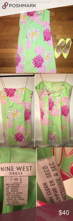 Nine West Floral Sundress, size 12 I love this Nine West Sundress! It's a size 12 and beautiful on. Please note the last photo, the straps could used some tender love and care from some needle and thread where they attach to the back of the dress. Nine West Dresses