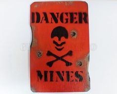 DANGER MINES RED, Paintball, Airsoft, army toy, boys toys, sign BEDROOM