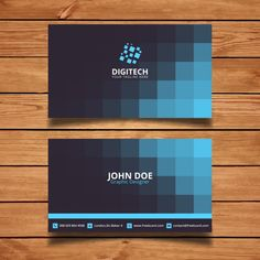 Corporate card with blue squares Free Vector