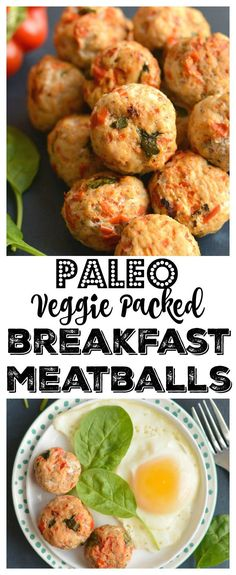 Meatballs for breakfast! These protein & veggie packed balls are great for prepping in advance. Serve with eggs & take with you on the go. Easily customizable simple to make & delicious! Healthy Low Calorie Meals, Low Calorie Recipes, Healthy Eating, Healthy Foods, Low Calorie Breakfast, Healthy Breakfast Recipes, Healthy Breakfasts, Desayuno Paleo, Healthy Gluten Free Recipes