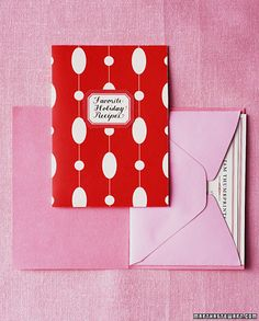 love this idea.  a bunch of recipes taped inside a card, plus a sample of one of the recipes.  love!