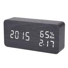 Digital LED Alarm Clock Sound Voice Control Light Digital LED Time Humidity Display Wooden Alarm Clock Electronic Clocks Desk