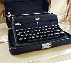 Vintage Portable Royal Arrow Black Typewriter by AloofNewfWhimsy, $158.00