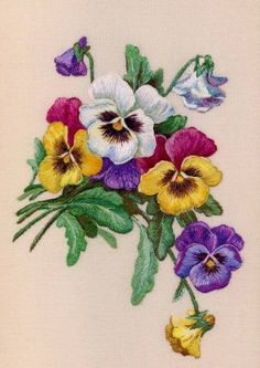 Flower Embroidery Designs, Ribbon Embroidery, Embroidery Art, Machine Embroidery Designs, Embroidery Stitches, Embroidery Patterns, Thread Painting, Tole Painting, Fabric Painting