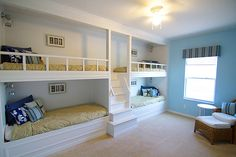 Built-in Bunk Beds - by brianarice @ LumberJocks.com ~ woodworking communityour built-in bunk beds with a stair case up the middle. Each bed is the same length as a standard twin bed but it is slightly more narrow by about 4 inches. Each bunk has also been outfitted with a light (bedtime reading) and an outlet (for cell phone or game charging).