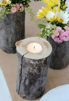 DIY Log Tea Light Holder and Vases for a Country Garden Party | Satori Design for Living