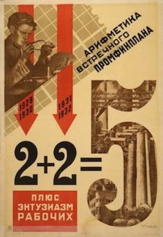 """Arithmetic of a counter-plan plus the enthusiasm of the workers."""" Propaganda poster supporting the first five year plan. Vintage Typography, Typography Design, Alexander Rodchenko, Industrial Artwork, Russian Constructivism, Russian Avant Garde, Propaganda Art, Arithmetic, Vintage Posters"""