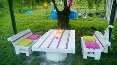 My garden set: Table made with a 2m long pallet and a barrel, benches made with recycled EURO pallets. Table avec palette de 2m de long et une barrique,banquettes avec des palettes europe. Idea sent by caubel denis !…