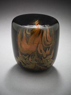 Suzuki Mutsumi (Japan, born 1942), Tea Caddy with Burning Autumn Leaves Design, 2005, Gift of Leslie Prince Salzman (M.2007.74a-b)