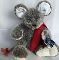 VTG Morton The Mouse Heritage Collection By Ganz Plush Stuffed Gray Red Scarf #Ganz #AllOccasion