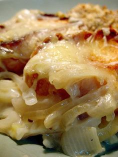 French Onion Casserole, with Swiss cheese and French bread