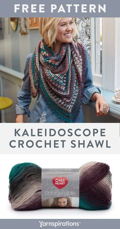 Jan 2020 - Free crochet pattern using Red Heart Unforgettable. Elevate your look with this radiant shawl that's ideal for daywear or dress it up for the evening. Crochet Shawls And Wraps, Crochet Scarves, Crochet Clothes, Knit Crochet, Crochet Shawl Free, Crochet Vests, Doilies Crochet, Red Heart Unforgettable Crochet, Crochet Triangle
