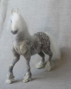 Needle felted horse, dapple gray pony, original one of a kind soft sculpture. $350.00, via Etsy.