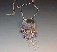 "Yasek Design Jewelry: ""jellyfish necklace"" Elita,  an Amethyst/Agate slice is set, amethyst crystals dangling Amethyst briolettes adn sterling silver chains."