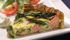 Pai med laks og asparges Spanakopita, Quiche, Pizza, Menu, Restaurant, Dinner, Ethnic Recipes, Food, Kitchens