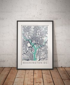 This stunning map shows the streets, railways, and waterways of Washington, DC.