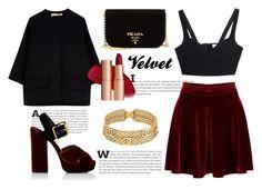 """High waist red velvet skirt"" by its-teoz ❤ liked on Polyvore featuring Prada, MICHAEL Michael Kors, Marni, Chanel, skirt and velvet"