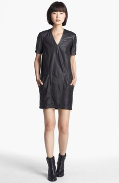 HELMUT Helmut Lang Washed Leather T-Shirt Dress available at #Nordstrom
