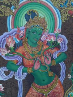 Jai Maa Green Tara by Udaya Charan Shrestha Tara Goddess, Goddess Art, Buddha Kunst, Buddha Art, Kerala Mural Painting, Indian Art Paintings, Abstract Paintings, Green Tara Mantra, Tantra Art