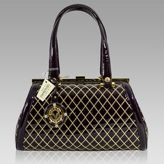 VALENTINO ORLANDI Italian DESIGNER PURPLE W GOLD QUILTING LEATHER LARGE  DOCTOR B 4a403cf489d4a