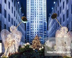 Angels at the Rockerfeller Centre, decorated for Christmas, New York City, USA