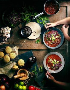 Food Photography Overhead Shot - Hands