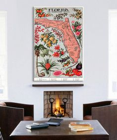 Florida State Map Gallery-Wrapped Canvas