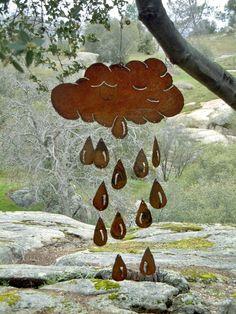 Cloud & Raindrop Metal Wind Chime by FoothillMetalArt on Etsy. $55.00, via Etsy.