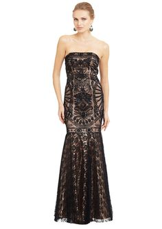 SUE WONG Black/Nude Strapless Overlay Detail Gown