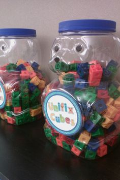 Upcycle an animal cracker container for classroom storage!