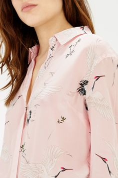 Silk Bird Print Blouse