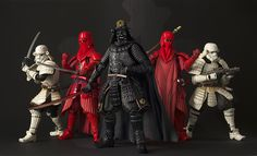 Samurai inspired Star Wars action figurines.'