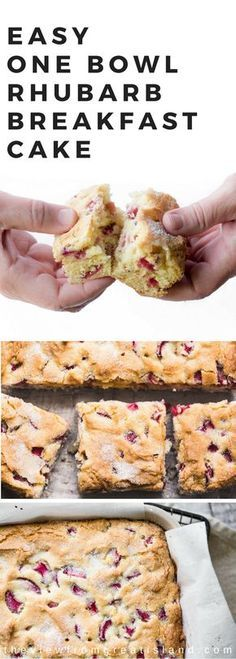 My Rhubarb Breakfast Cake is a classic, puffed up, fruity snack cake ~ the kind your grandma probably made. It's packed with jammy bits of sweet/tart rhubarb and it's officially my favorite way to start the day. Ruhbarb Recipes, Baking Recipes, Sweet Recipes, Dessert Recipes, Whole30 Recipes, Recipes Dinner, Recipies, Rhubarb Muffins, Rhubarb Cake