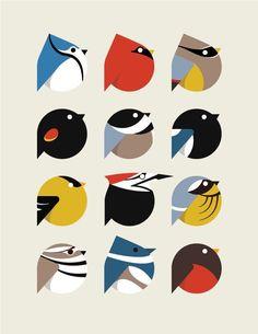 bird icon set by student cara thomson minimalist art digital graphic illustration Vogel Illustration, Pattern Illustration, Bird Graphic, Graphic Art, Animal Graphic, Doodle Drawing, Charley Harper, Affinity Designer, Bird Patterns