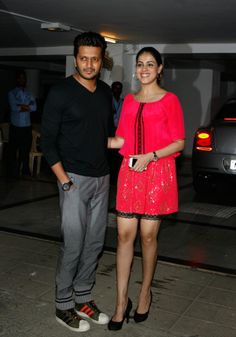 Riteish Deshmukh and Genelia D'Souza Deshmukh at Karan Johar's birthday bash. #Style #Bollywood #Fashion #Beauty
