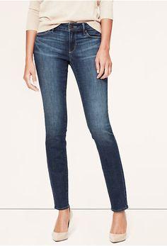 Ann Taylor Loft Curvy Skinny Jeans in Scale Blue Wash