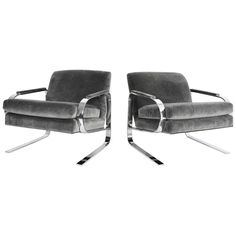 Milo Baughman Attributed Chrome Grasshopper Framed Lounge Chairs | From a unique collection of antique and modern lounge chairs at https://www.1stdibs.com/furniture/seating/lounge-chairs/