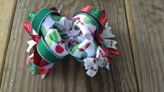 Christmas OTT Stacked Hair Bow  HoHoHo red white by CAMBowtique, $14.00