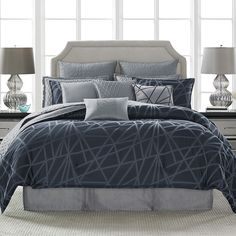 King Comforter Set (Candice Olson Cross My Heart) Bedroom Comforter Sets, King Comforter Sets, Luxury Bedding Sets, Grey Bedding, Modern Bedding, Rooms Home Decor, Home Bedroom, Bedroom Decor, Master Bedroom