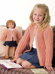 Free Knitting Patterns for Kids' Clothing - Knit cardigan for child with matching sweater for doll. Knit with DK weight yarn for doll and worsted weight yarn for child. Crochet Doll Clothes, Knitted Dolls, Girl Doll Clothes, Doll Clothes Patterns, Clothing Patterns, Kids Clothing, Doll Patterns, Girl Dolls, Free Baby Sweater Knitting Patterns