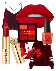 """Red red"" by pernille-albers on Polyvore featuring beauty, Roland Mouret, Lime Crime and NYX"