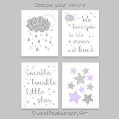 Moon and Stars Nursery Decor Star Nursery, Nursery Art, Girl Nursery, Nursery Ideas, Nursery Decor, Purple Canvas, Nursery Quotes, Canvas Prints, Art Prints