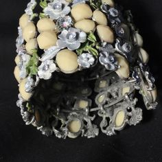 Vintage Wide Cuff Bracelet Ornate Bejeweled Floral Multiple Gemstones 1950-60s  | eBay
