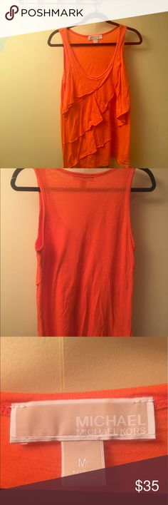 MICHAEL Michael Kors Orange Tank- Ruffles in front Michael Kors Orange Tank -Ruffles in front. Size Medium. 40% cotton 60% Rayon MICHAEL Michael Kors Tops Tank Tops
