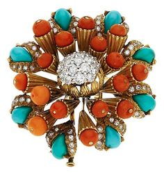 Estate Jewelry:Brooches - Pins, Diamond, Turquoise, Coral, Gold Clip-Brooch, Tiffany & Co.,French. ...